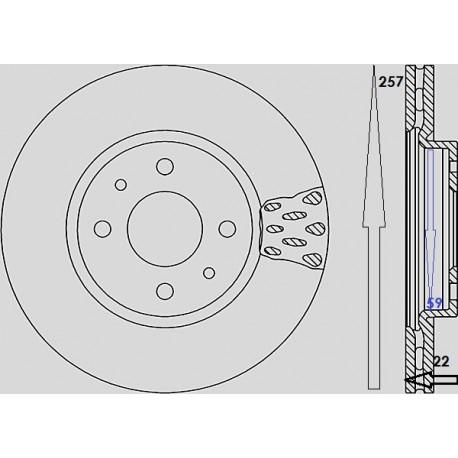 Kit dischi e pastiglie freno anteriore : Fiat - Qubo da 2008 a 2009 (225) - 1400 54kw 73cv - Benzina