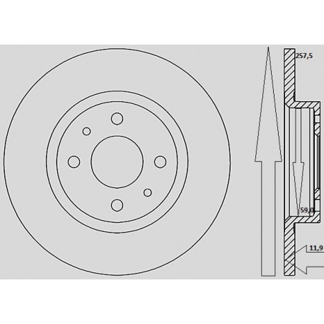 Kit dischi e pastiglie freno anteriore : Fiat - Multipla dal 2003 al 2010 - 1600 i 16V 70kw 95cv Blupower - Gas